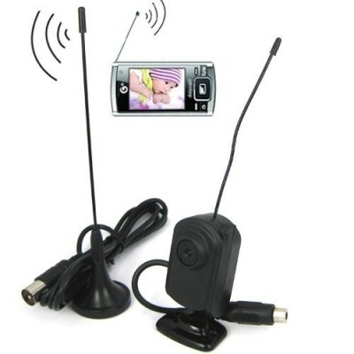 Mini Wireless Camera with 704 x 576 (PAL) CMOS and UHF TV Receiving Function